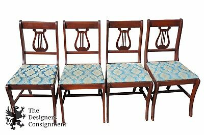 4 Antique Duncan Phyfe Mahogany Harp Back Dining Chairs Sabre Leg Blue Gold Seat