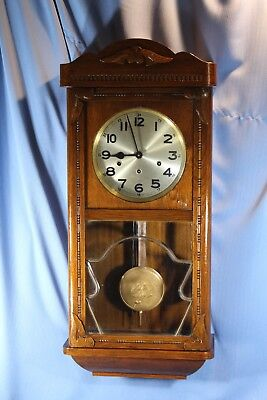 Large German Antique Wall Clock Westminster Chime 100% All Original Runs Great!