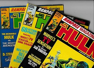 RAMPAGE MONTHLY STARRING THE HULK NO's 6, 7 & 8 MARVEL UK COMICS  1978/79 VGC
