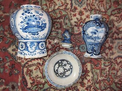 3 Antique Delft items - 17th and 18th century