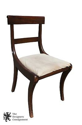 Antique Duncan Phyfe Side Occasional Chair Sabre Leg Simple Upholstered Seat