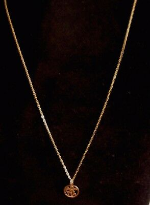 9ct 18 INCH GOLD FINE CHAIN AND ZODIAC (ARCHER) PENDANT NO RESERVE