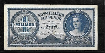 Hungary #131 Vg Used Milliard Milpengo Old Vintage Banknote Paper Money Note