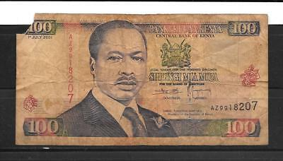 KENYA #37f 2001 100 SHILLINGS GOOD CIRC OLD BANKNOTE PAPER MONEY CURRENCY  NOTE