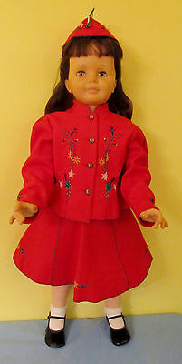 Pretty Brunette Ideal Patty Playpal Doll Dressed In German Wool Embroidered Suit