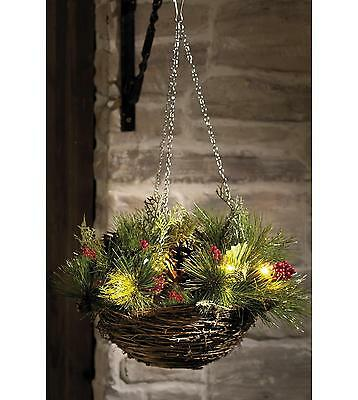 Pre Lit Festive Artificial Hanging Basket Christmas Fern Pine Cones & Berries