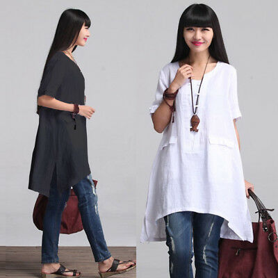 UK 10-26 ZANZEA Women Short Sleeve Vintage Loose Casual Tops Blouse Shirt Dress