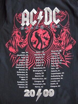 AC DC BLACK ICE WORLD TOUR T SHIRT 2009 VERY GOOD CONDn MEDIUM