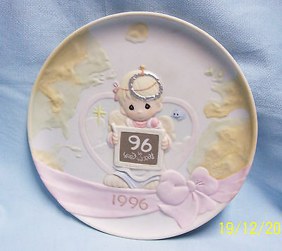 1996 Precious Moments Decorative Plate with boy Angel by Enesco Peace On Earth