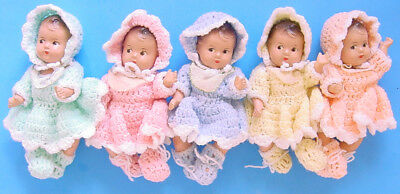 1930s MADAME ALEXANDER DIONNE QUINTUPLETS COMPOSITION in ORIGINAL & KNIT OUTFITS