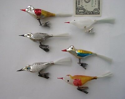 Lot of 6 Vintage CLIP-ON BLOWN GLASS SONG BIRDS CHRISTMAS ORNAMENTS
