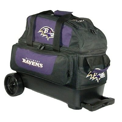 NFL Baltimore Ravens 2 Ball Roller Bowling Bag with Wheels