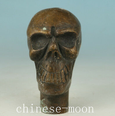 Cool Bronze Old Handmade Carved Skull Statue Usable Walking Stick Head
