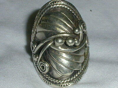 Gorgeous! Bold Old Pawn Sterling Ring All Detailed- Size 8 1/2!