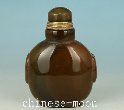 Natural Agate Old Handmade Carved Statue Snuff Bottle Ornament