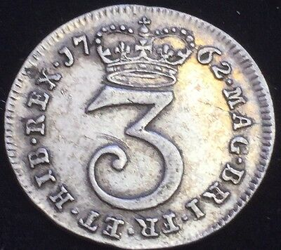 Antique Solid Silver 1762 King George III Maundy Three Pence