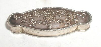 """Sterling Silver Embossed Shaped Pill Box"" Very Pretty"