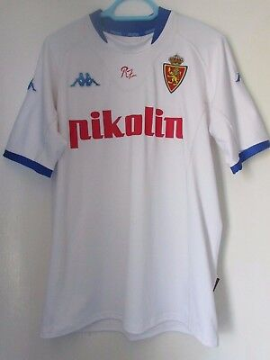 Real Zaragoza football shirt. Pikolin, white with blue trim,  40 inch chest