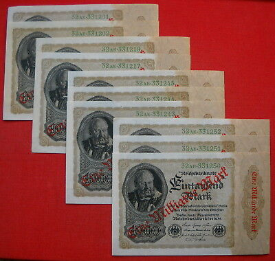 10 x 1 Milliarde Mark Banknote German Land 1923, with consecutive numbers in UNC