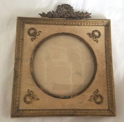 An Antique French Empire Silk & Gilt Metal Picture/Photo Frame