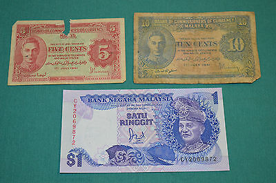 Two Banknotes of Board of Commissioners of Currency Malaya 5 & 10 Cents 1/7/1941