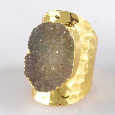 Defective Scratched Size 6.5 Agate Druzy Geode Ring Gold Plated T047099