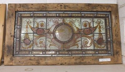 Reclaimed Large Victorian Stained Glass Panel In Pine Frame Warwick Reclamation