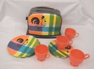 vintage tin plaid toy toaster plates cups saucers Rooster