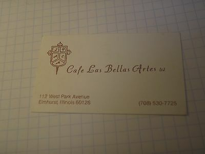Business Calling Card Cafe Las Bellas Artes ltd Elmhurst Illinois 80s Restaurant