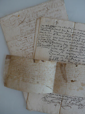 Lot de 4 manuscrits, XVIIème, parchemin, Lozère, Chanac, noblesse, 1654 !