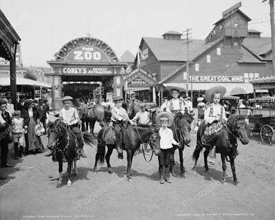 Boys Ride Ponies At Coney Island Zoo Professional Photo Lab Reprint