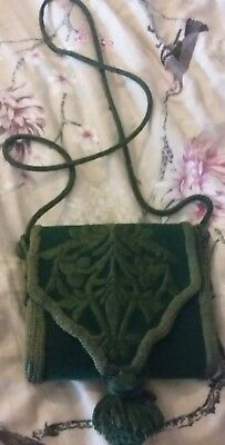 Vintage Handmade Velvet and Leather Shoulder Bag