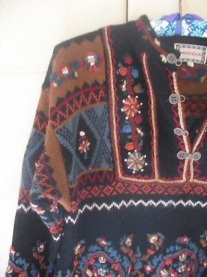 Vintage 70s 80s 100% Wool Monsoon Embroidered Cardigan Jumper