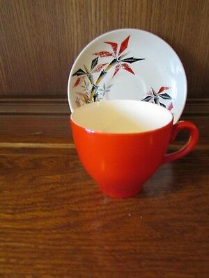 Washington Pottery~Red Bamboo~1XTea Cup and Saucer. Vibrant Red 1950's
