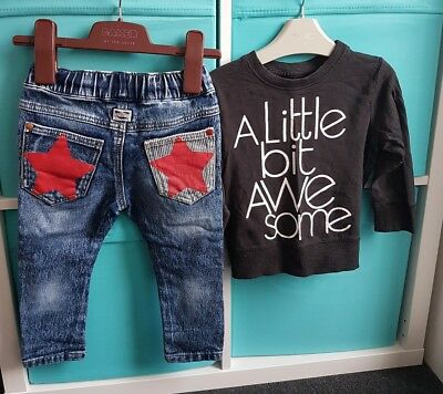 Boys Next Star Jeans Awesome Top Outfit Set 12-18 Months