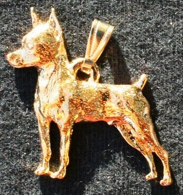 Miniature Pinscher 24K Gold Plated Pewter Pendant Jewelry USA Made