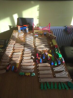 Job Lot Of Children Wooden Train Track And Train Set