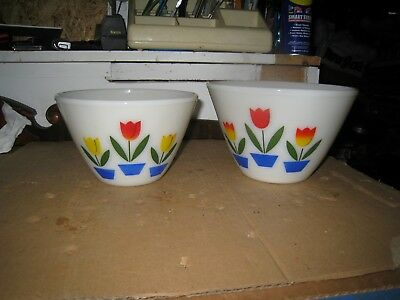 "Vintage Fire King Mixing Bowls Ivory Tulip Nesting 8.5"" & 7.5"" As-Is Used"