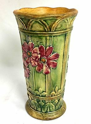 "WELLER POTTERY  9 1/4""  KLYRO, RED COSMOS VASE -  ARTIST BASE MARKED Circa 1920s"