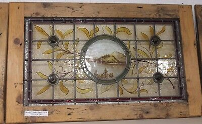 Reclaimed Large Victorian Stained Glass Panel In Pine Frame 2 | Warwick Rec