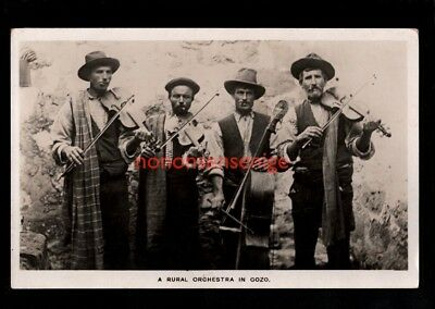 "Malta Gozo ""a Rural Orchestra"" String Instruments Real Photo Postcard E20C -Ma19"