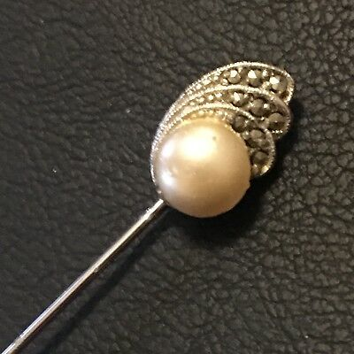 Vintage Art Deco Faux  Pearl And Marcasite topped 12 cm Hat Pin With Pin Guard
