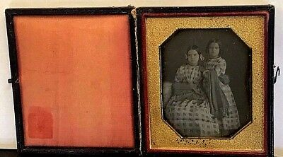 Hand Tinted Cased Sixth Plate Daguerreotype of Two Sisters in Dresses & Wrap