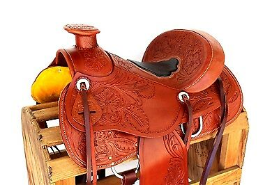 """15"""" Floral Western Leather Rodeo Horse Trail Ranch Roping Wade Cowboy Saddle"""