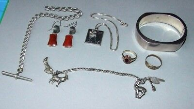 Nice Job Lot. Vintage Sterling Silver Jewellery. Bangle, Earrings, Watch Chain