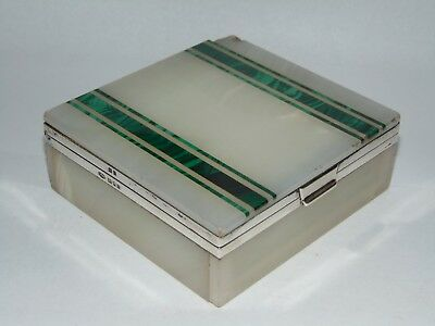 STYLSH ANTIQUE ART DECO 1928 SILVER MOUNTED ONYX & MALACHITE BOX by C.B&S LONDON
