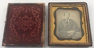 Cased Sixth Plate Daguerreotype Woman in Bonnet with Book & Paisley
