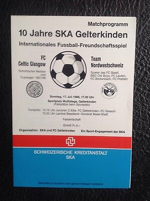 Nordwestschweiz Switzerland V Glasgow Celtic Preseason Friendly 1988