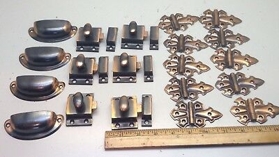 Vintage Copper Flashed Cubboard Hardware Bin Pulls Latches Stanley SW Hinges