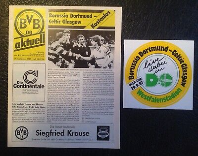Borussia Dortmund V Glasgow Celtic UEFA Cup 1987 Programme & Unused Rare Sticker